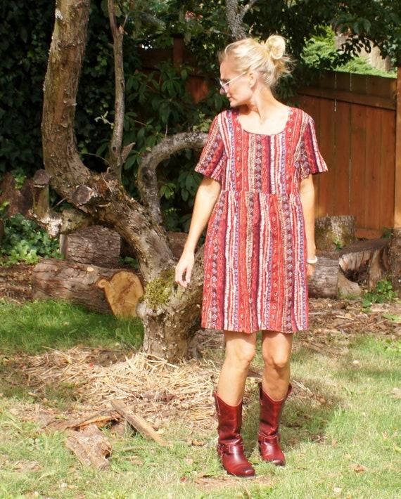 90's Tribal Baby Doll Mini Dress Ethnic Print