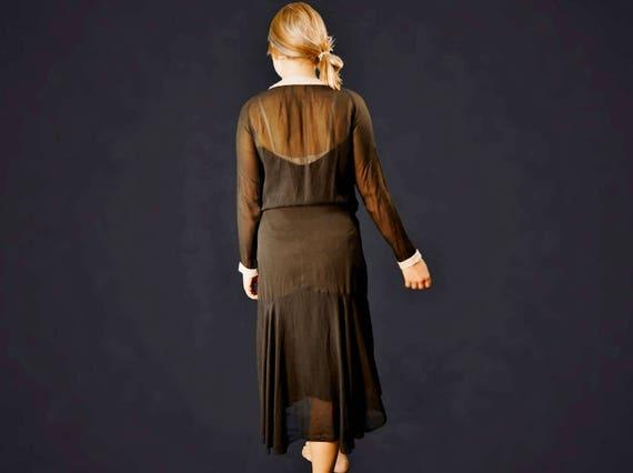 20's Black Silk Chiffon Beaded Flapper Dress - image 3