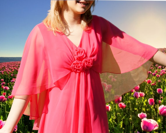 Spring 60's Bright Pink Chiffon Draped Dress
