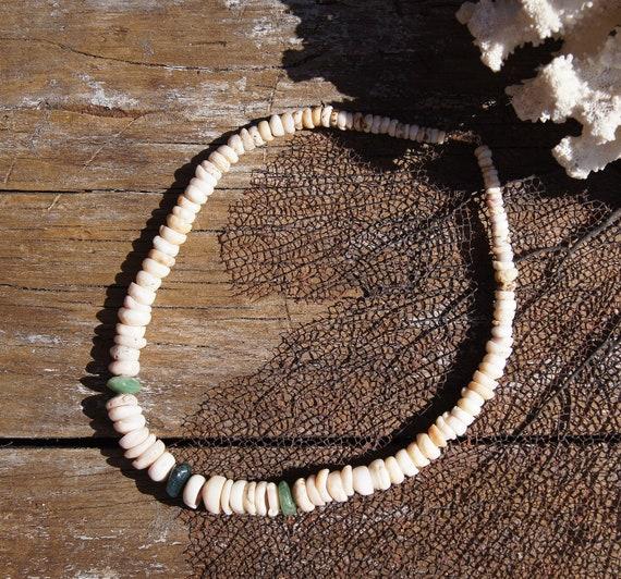 Vintage Hawaiian Puka Shell and Jade Surfer Beach Necklace