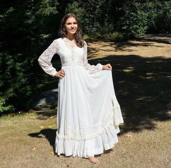70's Gunne Sax Prairie Boho Prairie Dress White