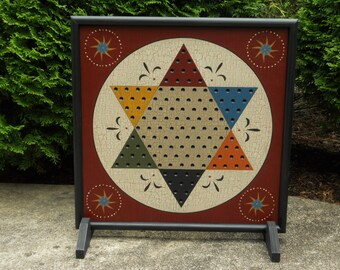 """19"""", Chinese Checkers, Game Board, Folk Art, Wood, Game Boards, Primitive, Wooden, Board Game"""