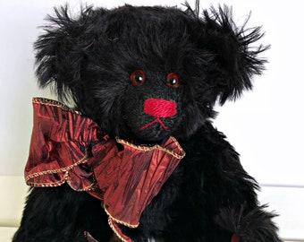 Carl Black Jointed Mohair Bear