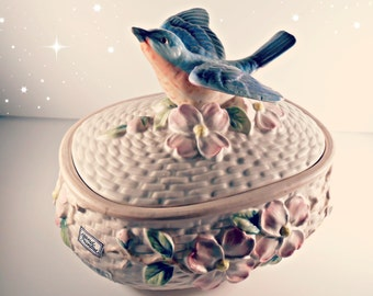 Vintage Fitz and Floyd Bluebird Covered Casserole Dish - The Secret Garden Collection