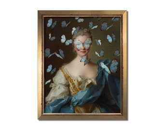 Altered Vintage Portrait Eclectic Print Maximal Wall Art Female Surreal Rococo Baroque Decor Feminine Gold Blue Butterflies Oil Painting