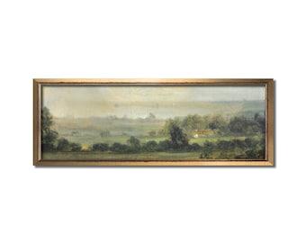 Landscape wall art, Vintage art, Antique landscape painting, Landscape print, Vintage oil painting, Panoramic art, Calm valley, Farm artwork