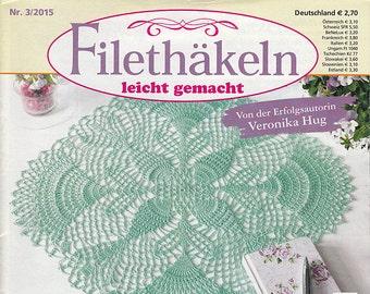 Magazine Filethakeln leicht gemacht 3_2015 journal crochet pattern for filet lace table cloth vintage runner flower napkin ring holder