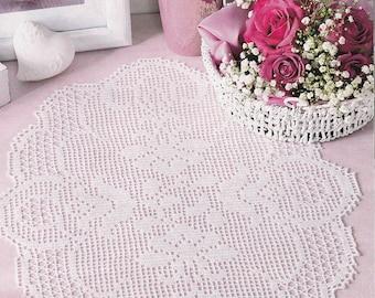Pattern of Filethakeln leicht gemacht 3_2015-13 floral filet crochet lace cotton table cloth runner vintage retro flower