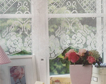 Pattern of Burda special E659_08 spring filet crochet lace cotton window curtain with roses floral vintage retro 45x105 cm