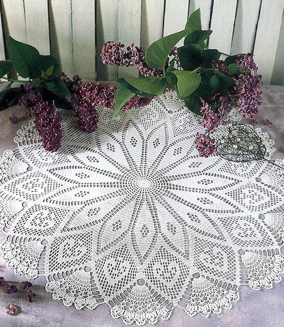 Muster der Runde Kreis Filet crochet Lace Baumwolle weiß | Etsy