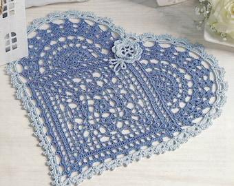 Pattern of Dekoratives Hakeln 2015_123_07 round filet crochet lace cotton table cloth runner vintage retro heart