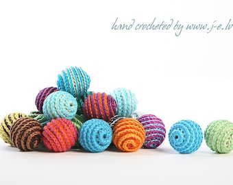 20 wooden round striped crochet beads balls for jewelry necklase making 2 cm cotton nature friendly - choose any custom color mix & match