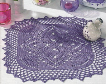 Pattern of Filethakeln leicht gemacht 4_2015-03 square filet crochet lace cotton white table cloth runner vintage retro