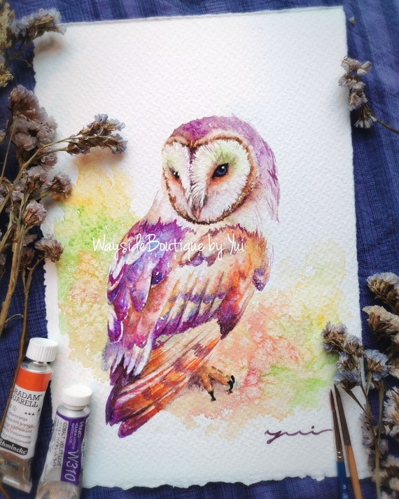 Bran owl - ORIGINAL watercolor painting 7.5x11 inches