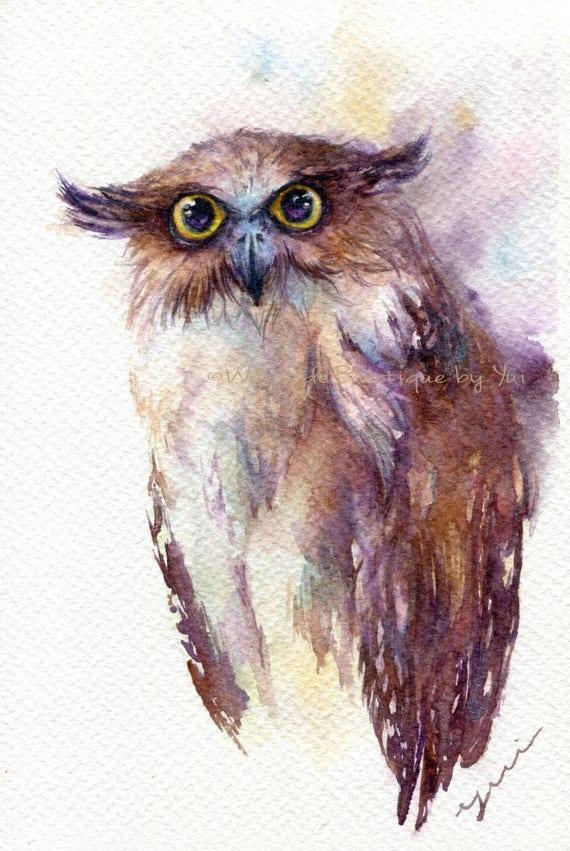 "PRINT –Fish owl Watercolor painting 7.5 x 11"""