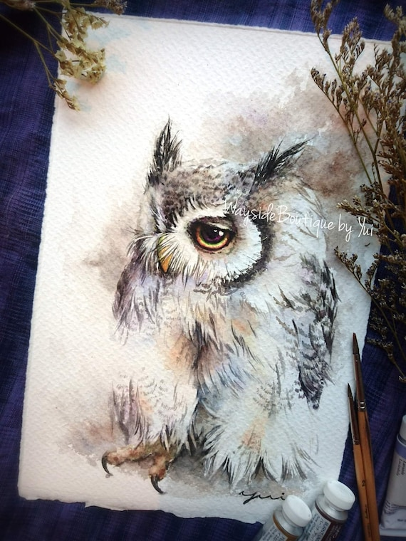 Classic color owl - ORIGINAL watercolor painting 7.5x11 inches
