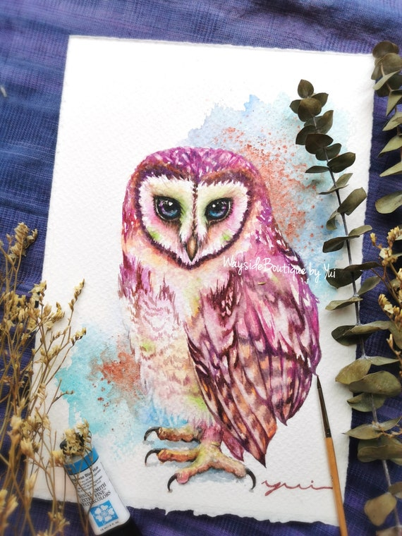 Barn owl colorful - ORIGINAL watercolor painting 7.5x11 inches