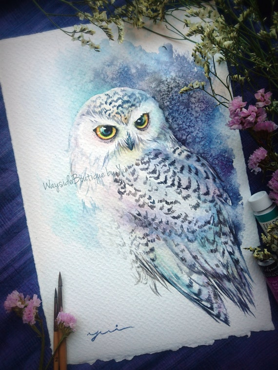 Snowy owl - ORIGINAL watercolor painting 7.5x11 inches