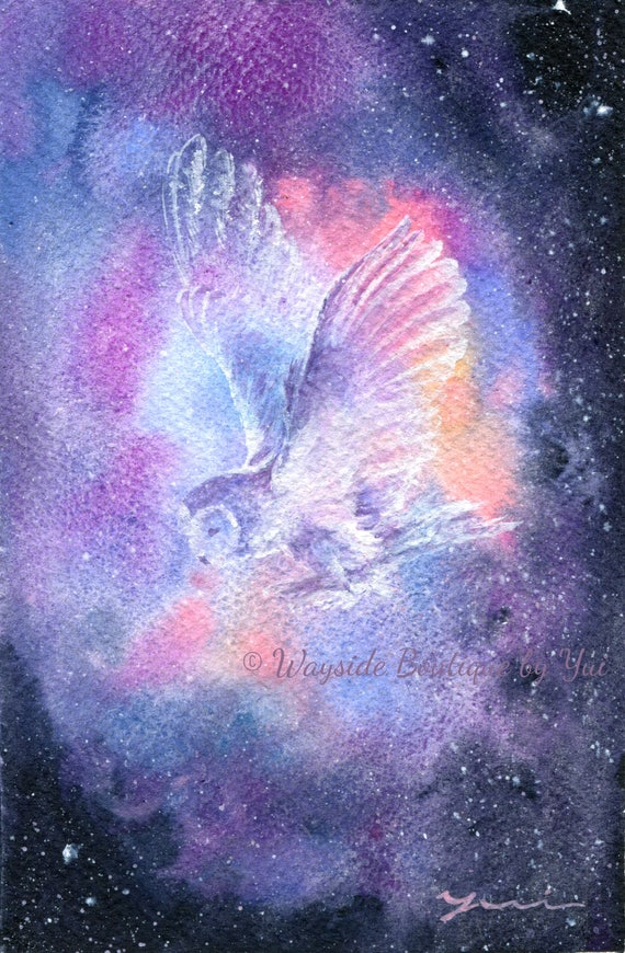 "PRINT –Owl Spirit  Watercolor painting 7.5 x 11"""