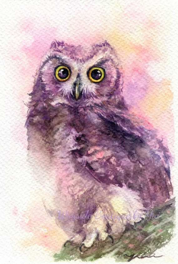 Little horned owl - ORIGINAL watercolor painting 7.5x11 inches