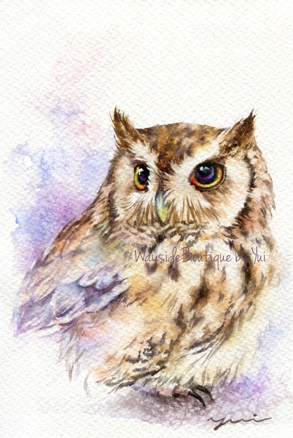 PRINT – Owl Watercolor painting 7.5 x 11""