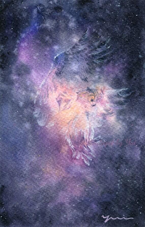 "PRINT –Owl Spirit no2 Watercolor painting 7.5 x 11"""