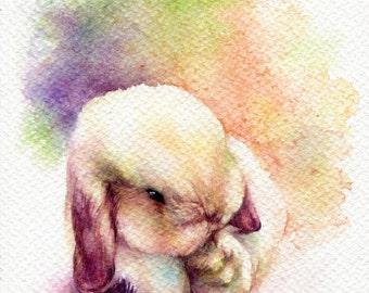"PRINT – Little Rabbit Watercolor painting 7.5 x 11"""