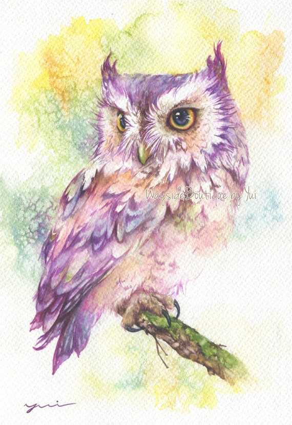 """PRINT –Colorful owl Watercolor painting 7.5 x 11"""""""