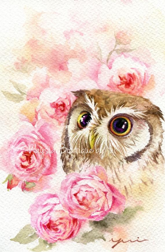 "PRINT – Roses owl Watercolor painting 7.5 x 11"""