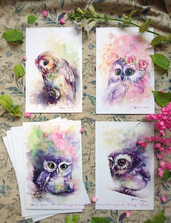 """Greeting owl set 4 cards - print from watercolor painting 4 x6"""""""