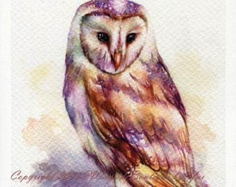 PRINT – The Owl Watercolor painting 7.5 x 11""