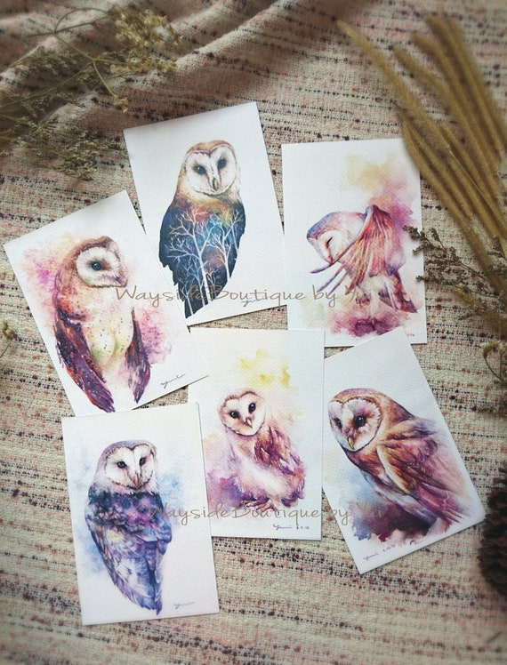 """Greeting Bran owl set 6 cards - print from watercolor painting 4 x6"""""""
