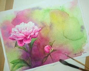 """PRINT –Peonias Watercolor painting 7.5 x 10.5"""""""