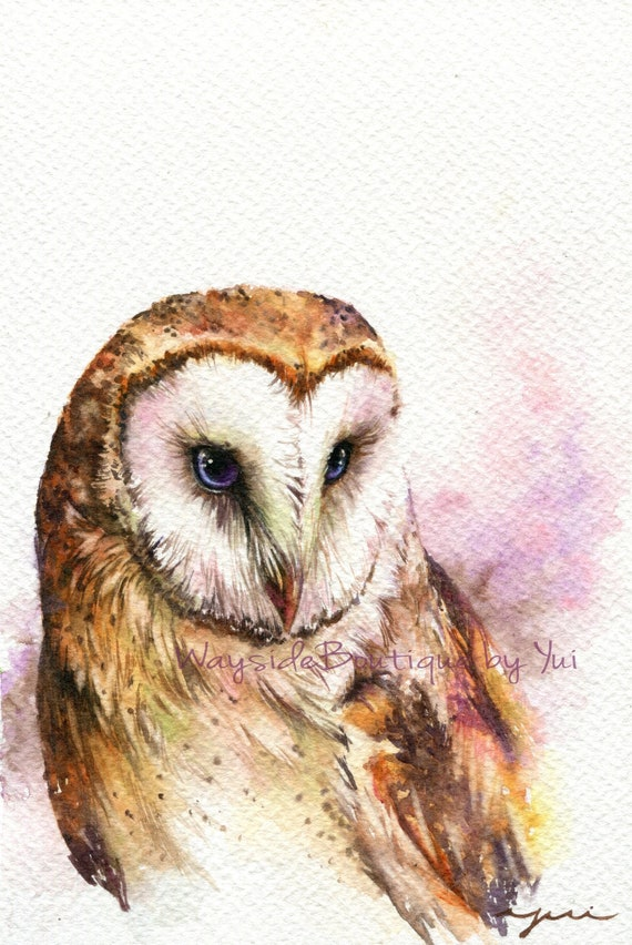 PRINT – Barn Owl - Watercolor painting 7.5 x 11""