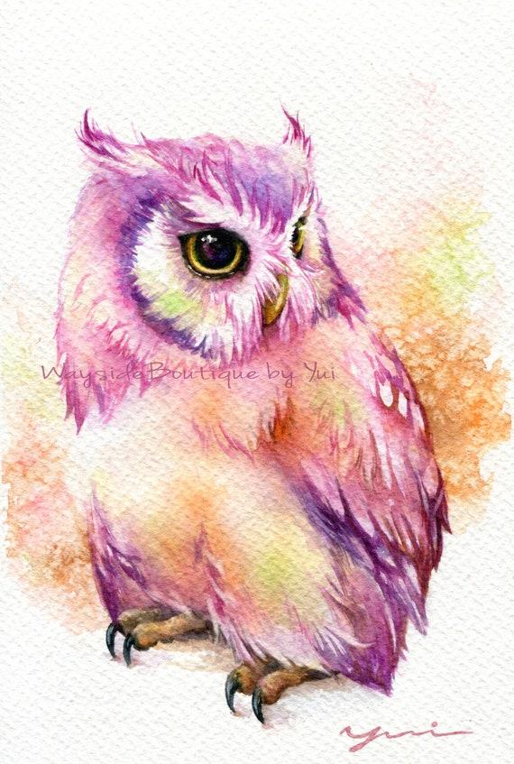 "PRINT –Owl & Sweet Watercolor painting 7.5 x 11"""