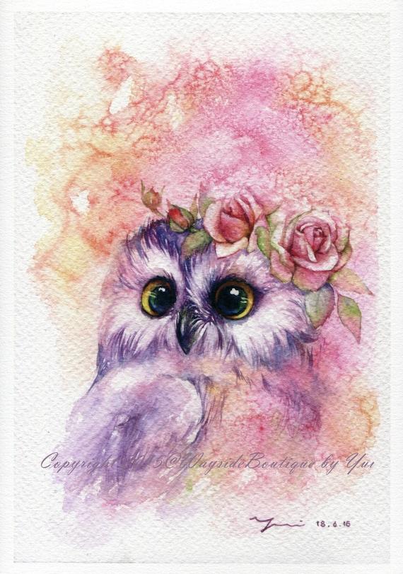 """PRINT – Sweetie Owl Watercolor painting 7.5 x 11"""""""