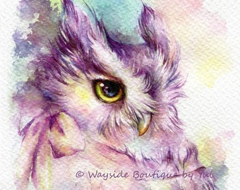PRINT – Owl with bow Watercolor painting 7.3 x 11""