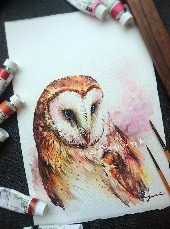 Barn owl - ORIGINAL watercolor painting 7.5x11 inches