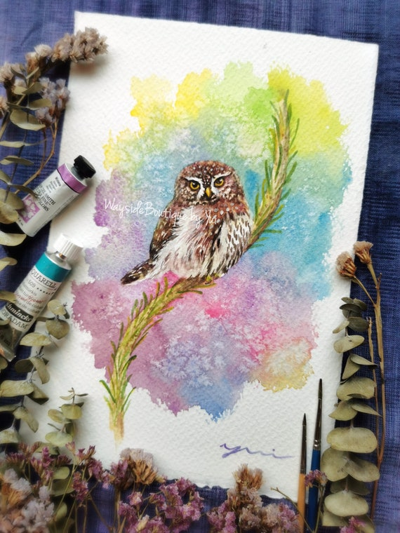 Owl- ORIGINAL watercolor painting 7.5x11 inches