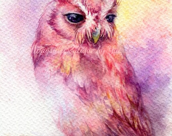 Fantacy owl - ORIGINAL watercolor painting 7.5x11 inches