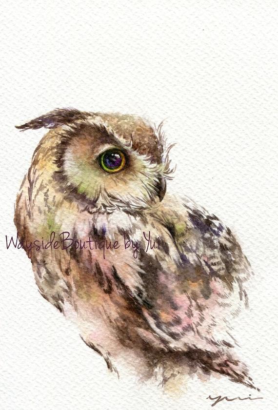 "PRINT Owl Watercolor painting 7.5 x 11"""