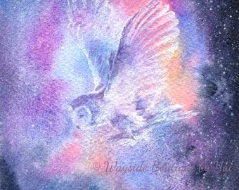 Owl Spirit - ORIGINAL watercolor painting 7.5x11 inches