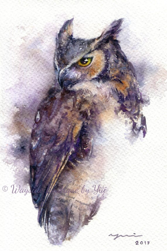 """PRINT – Horned Owl - Watercolor painting 7.5 x 11"""""""