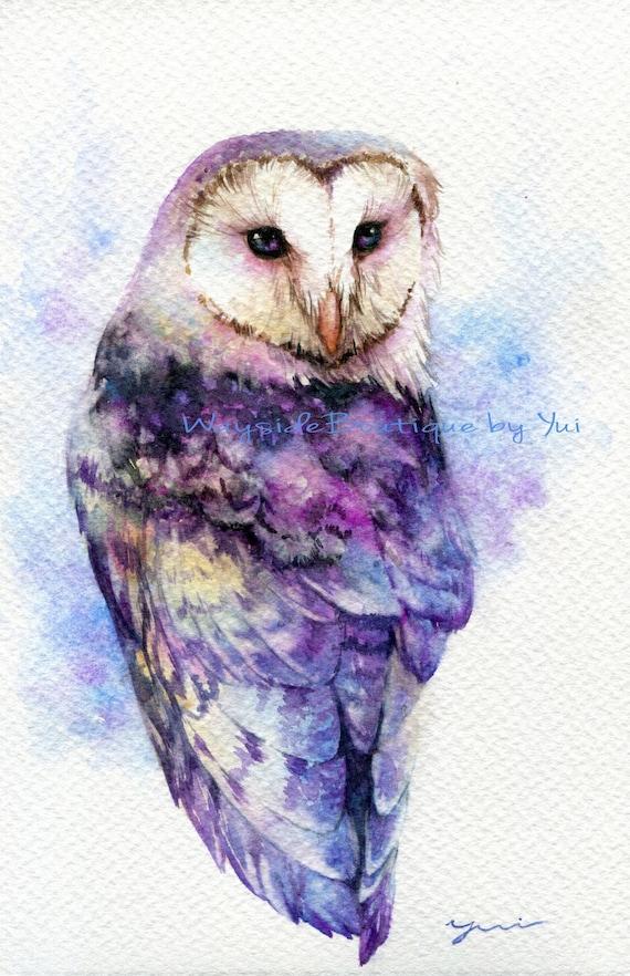 "PRINT -Galaxy owl- Watercolor painting 7.5 x 11"""