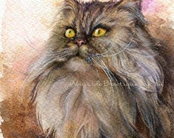 "PRINT –Cat Watercolor painting 7.5 x 11"""