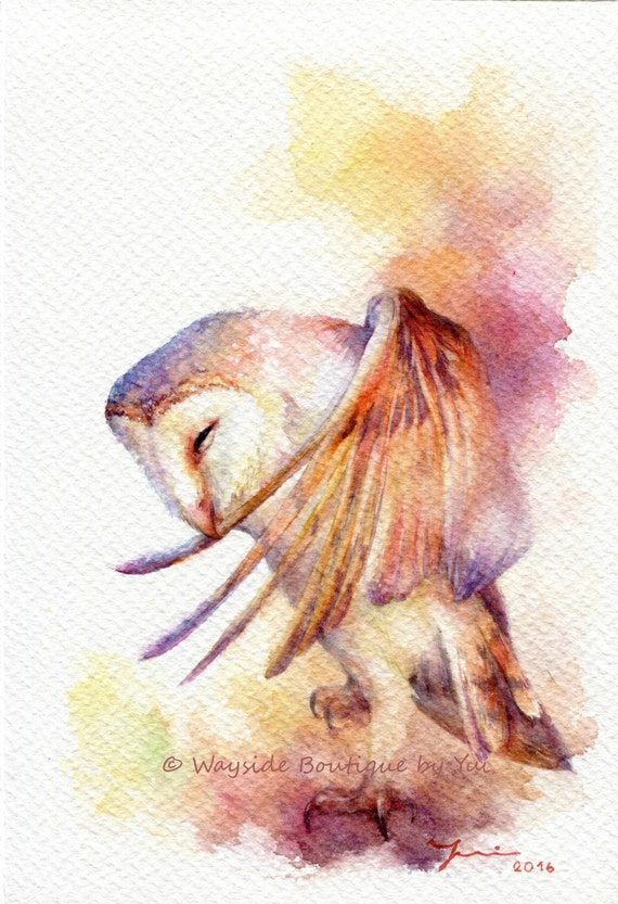 Proud of owl - ORIGINAL watercolor painting 7.5x11 inches