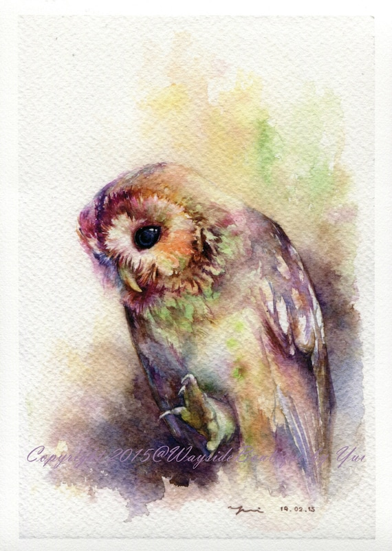 PRINT - The Owl watercolor painting 7.5 x 11""