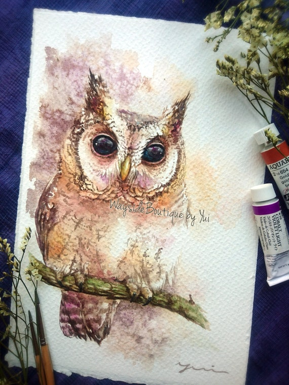 Black-eyes Owl- ORIGINAL watercolor painting 7.5x11 inches