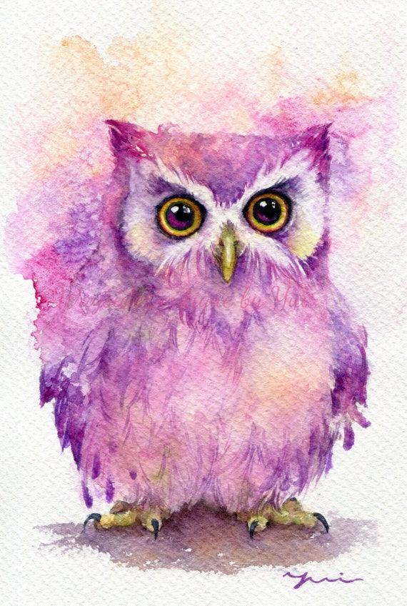 PRINT – Baby owl- Watercolor painting 7.5 x 11""