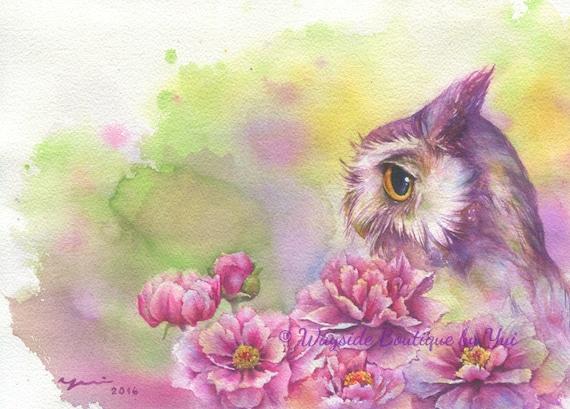 "PRINT – Peonias n Owl Watercolor painting 7.3 x 11"""